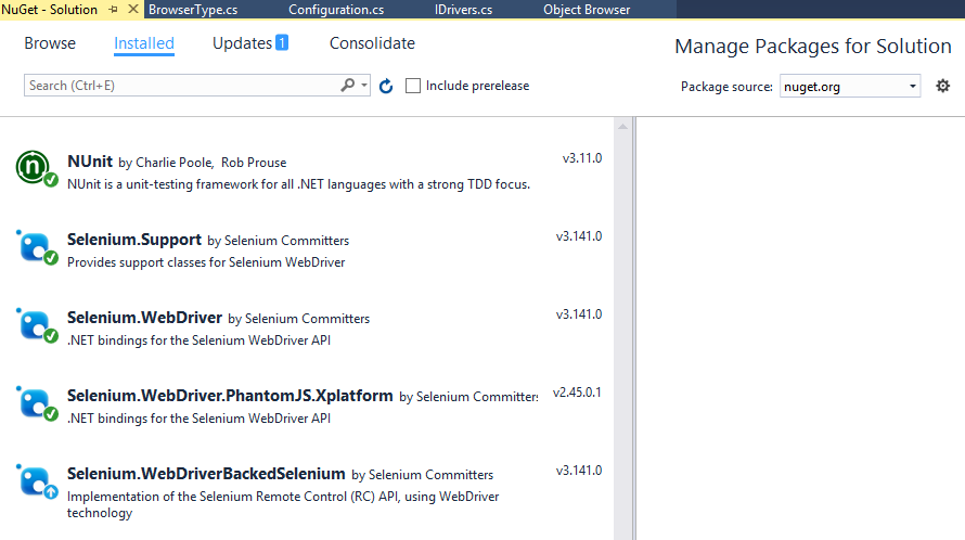 Nuget required packages for selenium
